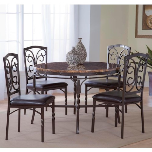 Morris Home Furnishings Tuscan 5-Piece Metal/Faux Marble Dinette Table Set