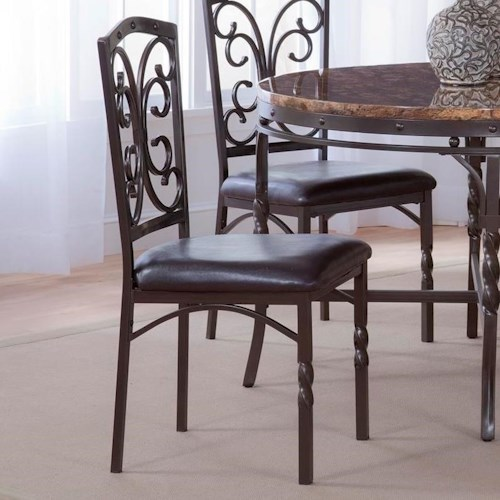 Morris Home Furnishings Tuscan Metal Side Chair with Scroll Detail