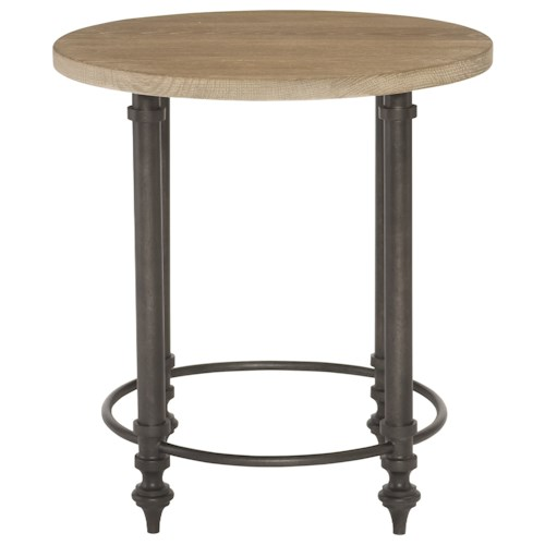 Bernhardt Antiquarian Round End Table with Metal Base
