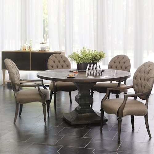Bernhardt Antiquarian 5 Piece Dining Set with Round Pedestal Table