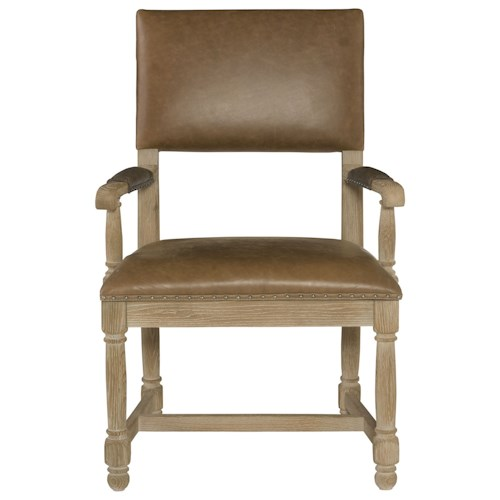 Bernhardt Antiquarian Leather Arm Chair with Stretchers