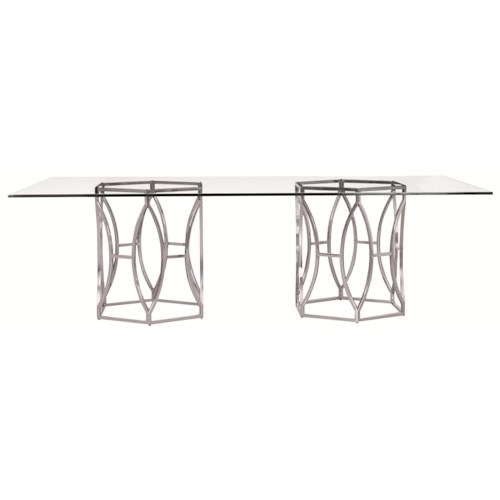 Bernhardt Argent  Modern Rectangular Dining Table in Stainless Steel