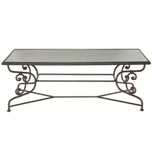 Bernhardt Auberge Metal Cocktail Table with Antique Mirror Glass Top