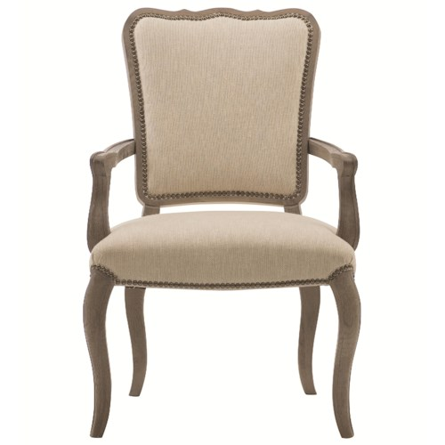 Bernhardt Auberge Upholstered Dining Arm Chair with Nailhead Trim