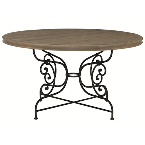 Bernhardt Auberge Round Dining Table with Decorative Solid Steel Base
