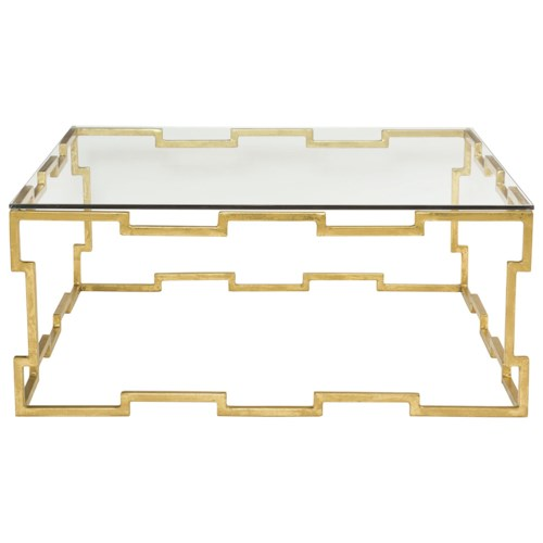 Bernhardt Bancroft Square Cocktail Table with Glass Top and Metal Base