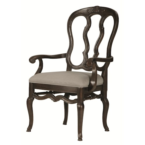 Bernhardt Belgian Oak Traditioinal Wood Arm Chair with Padded Seat