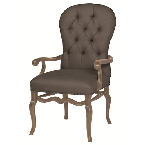 Bernhardt Belgian Oak Tufted Upholstered Arm Chair for Dining Rooms and Living Rooms