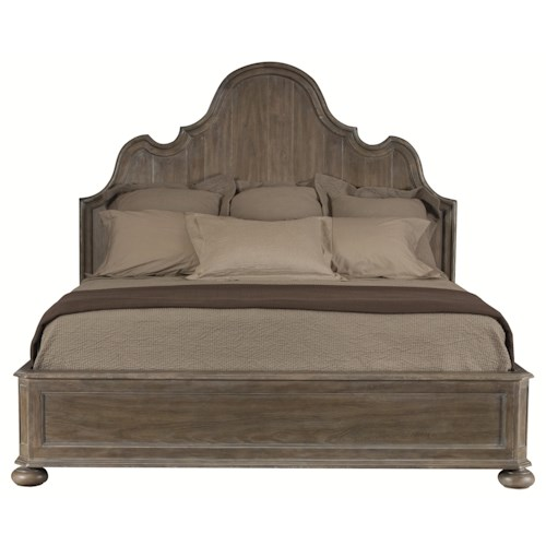 Bernhardt Belgian Oak High End Master Bedroom Queen Size Panel Bed with Traditional Elegant Style
