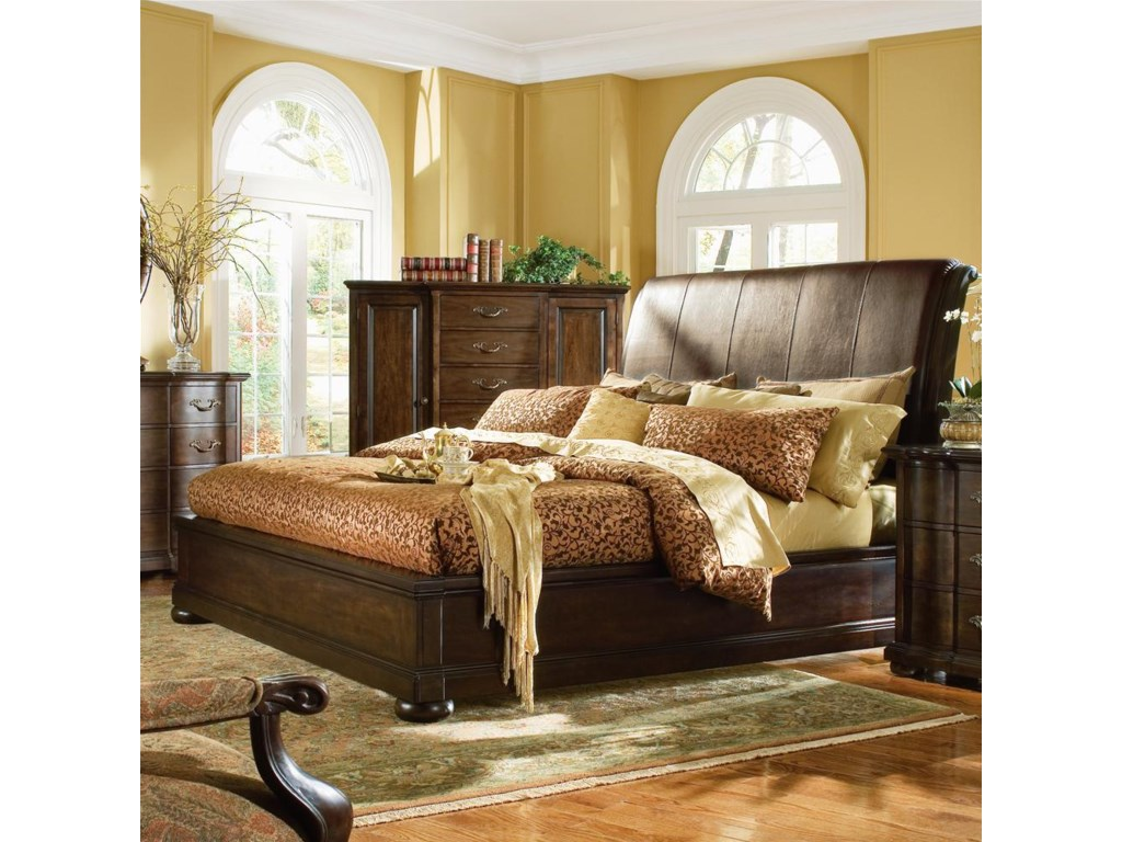Shown with King Leather Sleigh Bed