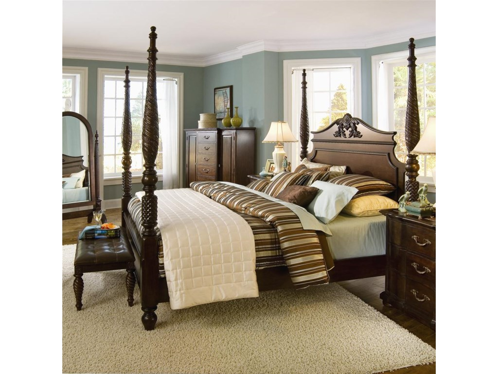Shown with King Poster Bed and Leather Tufted Bench