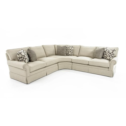Bernhardt Signature Seating Customizable Four Piece Sectional Sofa with Rolled Arms