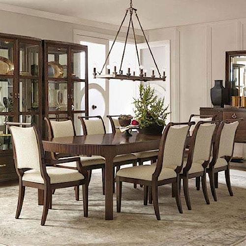 Bernhardt Beverly Glen 9 Piece Dining Set with Fluting Detail