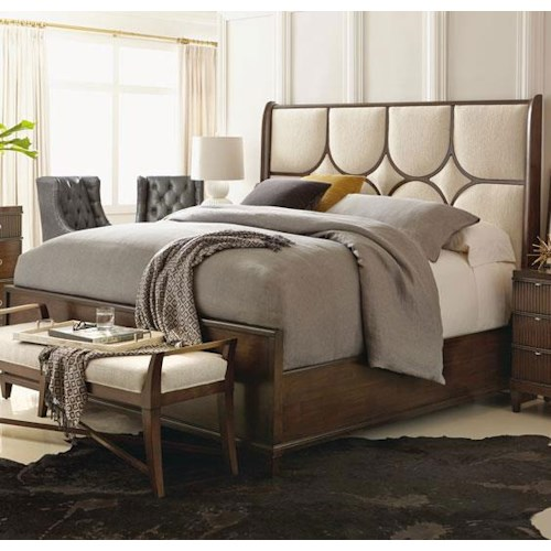 Bernhardt Beverly Glen Queen Upholstered Panel Bed with Exposed Wood Grille