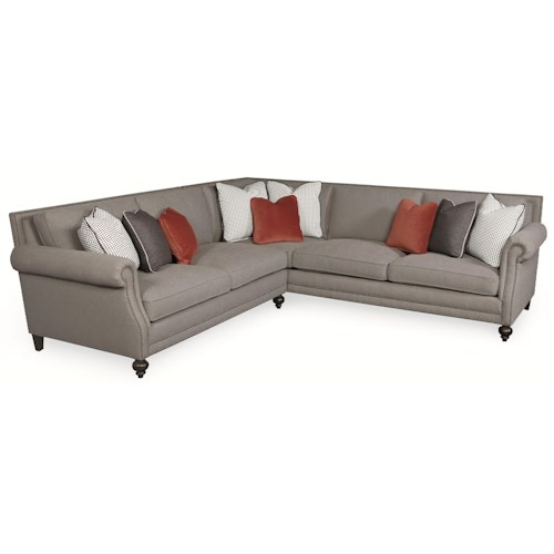 Bernhardt Brae Five Seat Sectional Sofa with Transitional Style