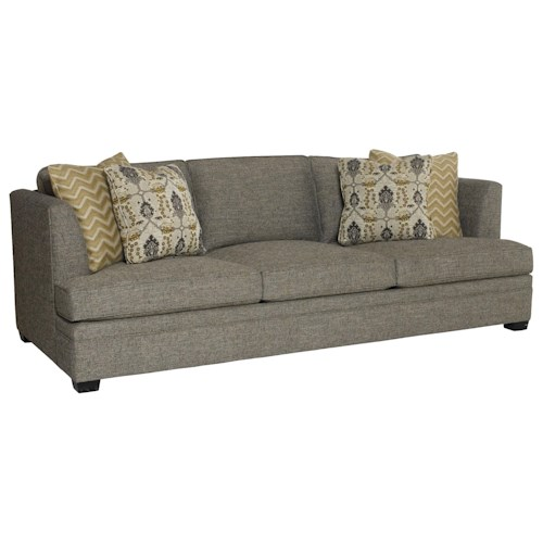 Bernhardt Conway Sofa with High Set Arms and Wood Legs