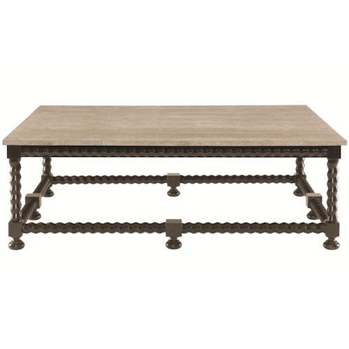 Bernhardt Alcott Ave Cocktail Table with Travertine Stone Top