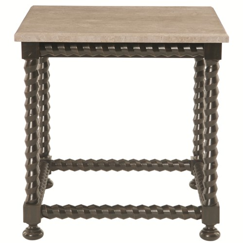Bernhardt Alcott Ave Square End Table with Travertine Stone Top