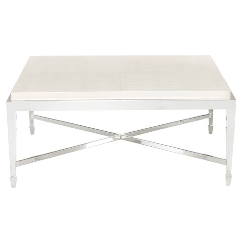 Bernhardt Criteria Square Cocktail Table with Bonded Leather Top