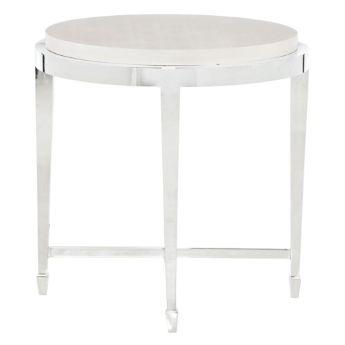 Bernhardt Criteria Round End Table with Leather Top