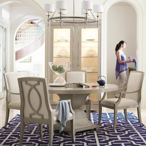 Bernhardt Criteria 5 Piece Dining Set with Upholstered Arm Chairs