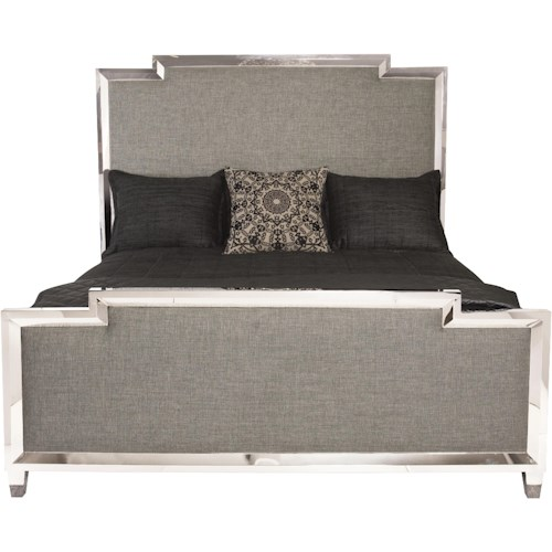 Bernhardt Criteria California King Upholstered Panel Bed with Metal Border