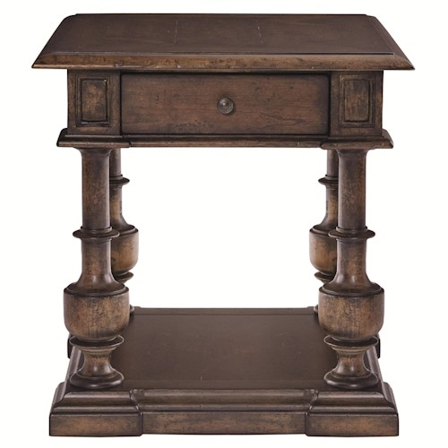 Bernhardt Eaton Square End Table with 1 Drawer and Shelf Base