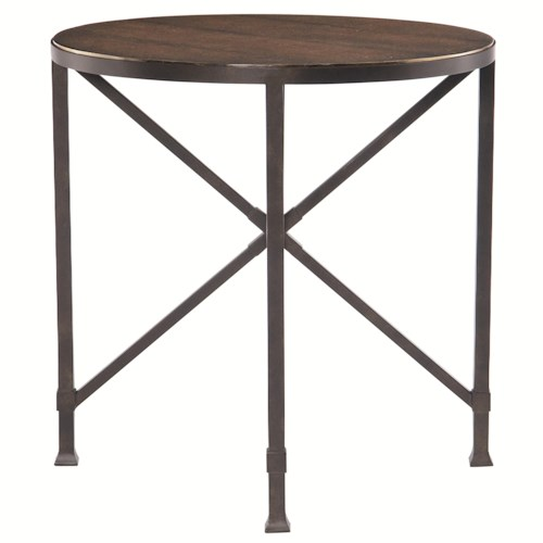 Bernhardt Eaton Square Round End Table with Tubular Steel Base