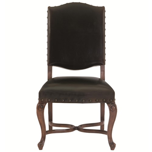Bernhardt Eaton Square Leather Upholstered Side Chair with Cabriole Legs