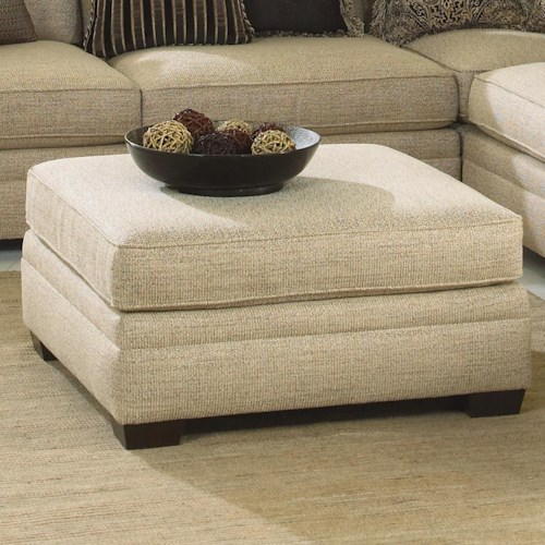 Bernhardt Grandview Traditional Upholstered Ottoman with Block Wood Feet