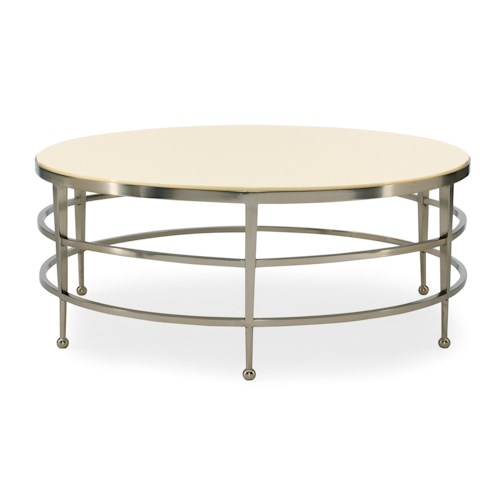 Bernhardt Haven Round Cocktail Table with Metal Base