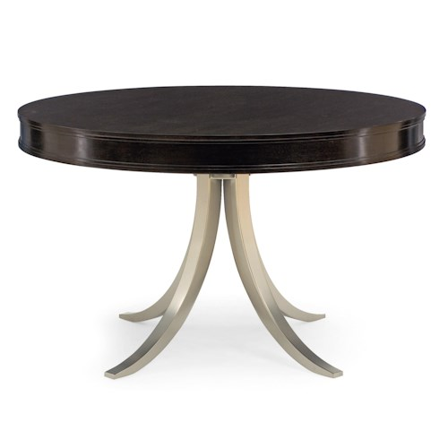 Bernhardt Haven Round Dining Table with Contemporary Metal Base