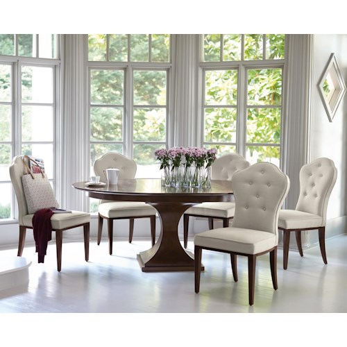 Bernhardt Hawkins 6 Piece Single Pedestal Table and Upholstered Chairs Set