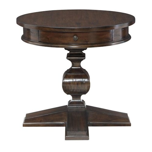 Bernhardt Howell Round End Table with Drawer