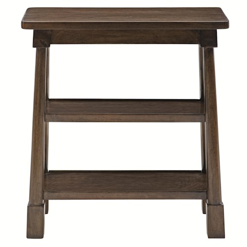 Bernhardt Huntington End Table with 2 Shelves and Block Legs