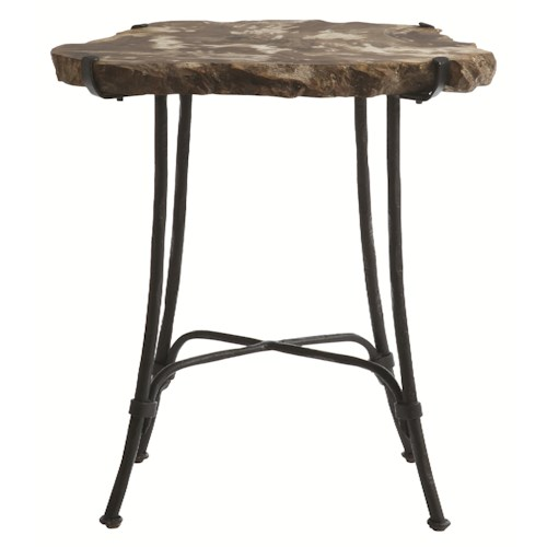 Bernhardt Interiors - Accents Petrified Wood Slab Side Table with Metal Base