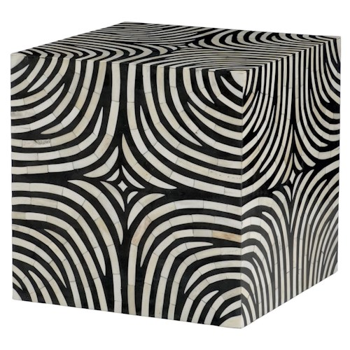 Bernhardt Interiors - Accents Zebra Cube with Patterned Bone Inlay Design