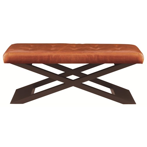Bernhardt Interiors - Accents Transitional Harlow Bench with Wooden Cross-Beams and Tufted Seat Cushion
