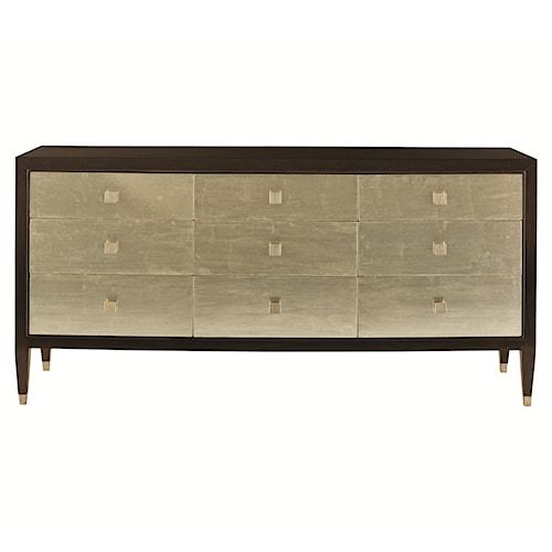 Bernhardt Interiors - Aurelia Nine Drawer Dresser with Silver Leaf Drawer Fronts