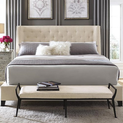 Bernhardt Interiors - Beds Maxime King Upholstered Bed with Contemporary Style and Classic Button Tufts