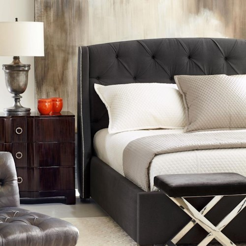 Bernhardt Interiors - Beds Queen-Size Jordan Button Tufted Wing Headboard