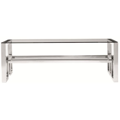 Bernhardt Interiors - Imperial Modern Metal Cocktail Table with Glass Top and Shelf