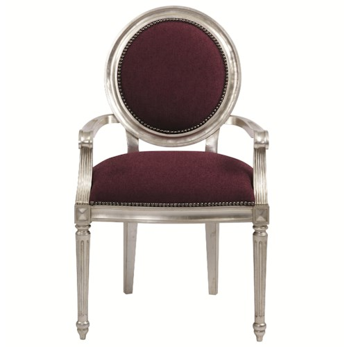 Bernhardt Interiors - Louis Louis Dining Arm Chair with Nailhead Trim