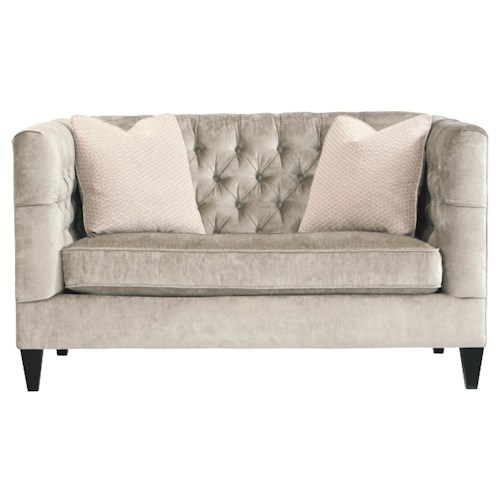Bernhardt Interiors - Sofas Modern Transitional Styled Beckett Loveseat with Button Tufted Back