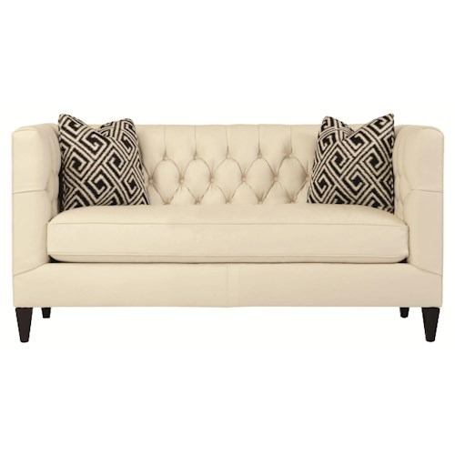 Bernhardt Interiors - Sofas Contemporary Leather Beckett Loveseat with Button Tufted Back