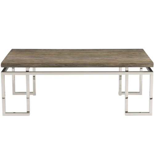 Bernhardt Interiors - Waverly Cocktail Table with Stainless Steel Base