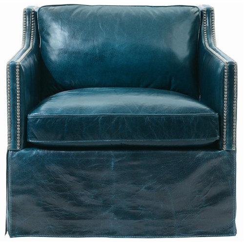 Bernhardt Interiors-Chairs Delano Leather Chair with Nail Head Trim