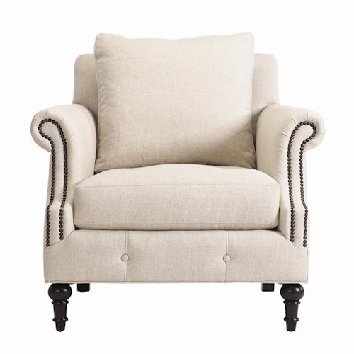 Bernhardt Interiors - Chairs Angelica Upholstered Armchair with Nailhead Trim