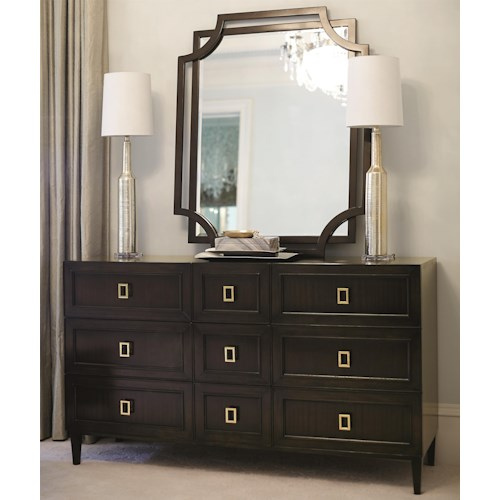 Bernhardt Jet Set Dresser and Cutout Mirror Set with 9 Drawers