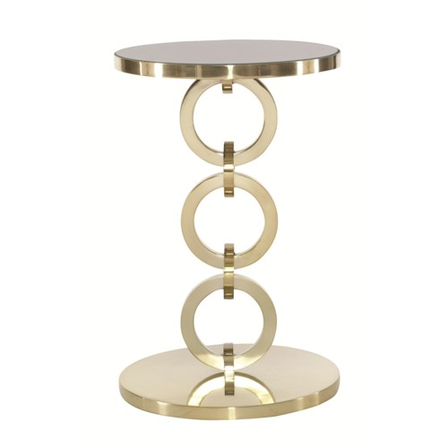 Bernhardt Jet Set Round Chairside Table with Glass Top